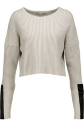 Autumn Cashmere Cropped Pony Hair Trimmed Ribbed Knit Sweater Beige