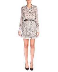 Carven Long Sleeve Georgette Splatter Top White Black Blanc Noir