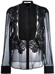Givenchy Pleated Front Sheer Shirt Black