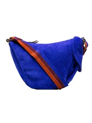 Manu Atelier Blue Hobo Fernweh Suede Shoulder Bag