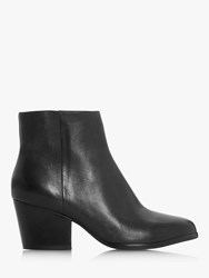 Bertie Poket Leather Block Heeled Ankle Boots Black