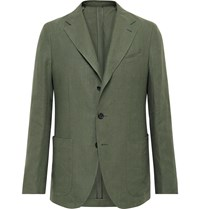 Caruso Slim Fit Linen Suit Jacket Green