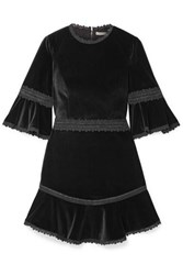 Alice Olivia Doloris Lace Trimmed Fluted Velvet Mini Dress Black