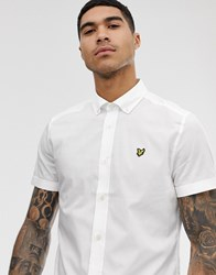 Lyle And Scott Short Sleeve Cotton Slim Fit Shirt In White
