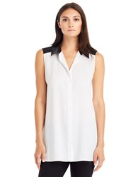 Kenneth Cole Raelynn Colorblock Blouse White Black