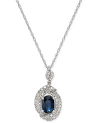 Macy's Sapphire 1 Ct. T.W. And Diamond 3 8 Ct. T.W. Oval Pendant Necklace In 14K White Gold