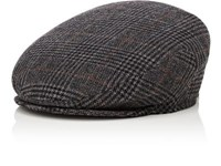 Barneys New York Men's Glen Plaid Wool Blend Newsboy Cap Dark Grey