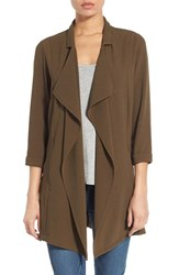 Bobeau Women's Drape Front Long Jacket Olive
