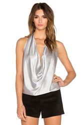Ramy Brook Harriet Halter Tank Metallic Silver