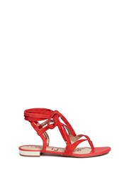 Sam Edelman 'Davina' Lace Up Suede Thong Sandals Red Orange