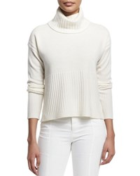 Derek Lam Cashmere Ribbed Trim Turtleneck Sweater Soft White
