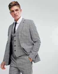 French Connection Prince Of Wales Blue Check Slim Fit Suit Jacket Grey