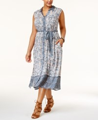 Lucky Brand Trendy Plus Size Mixed Print Shirtdress Multi