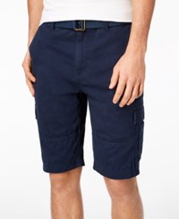 American Rag Men's Belted Relaxed Cargo Shorts Created For Macy's Basic Navy