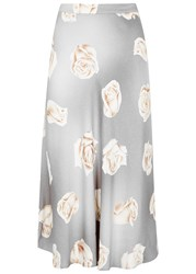 Boutique Moschino Grey Rose Print Skirt