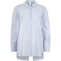 River Island Blue Stripe Bow Back Oversized Shirt