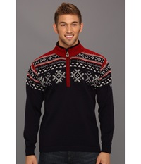 Dale Of Norway Dovre C Navy Light Charcoal Red Rose Men's Sweater Black