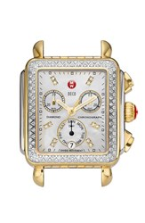 Women's Michele 'Deco Diamond' Diamond Dial Two Tone Watch Case 33Mm X 35Mm Silver Gold
