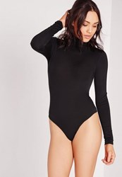 Missguided Petite Black Turtleneck Long Sleeve Bodysuit