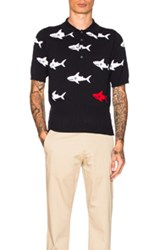 Thom Browne Shark Intarsia Polo In Abstract Blue Abstract Blue