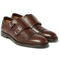 Mccaffrey Leather Monk Strap Shoes Brown