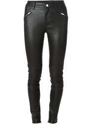 Blk Dnm Ribbed Detail Skinny Trousers Black