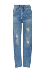 Re Done High Rise Ankle Crop Jeans Medium Wash
