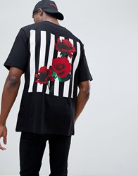 Systvm Oversized Rose Grid Back Print T Shirt Black