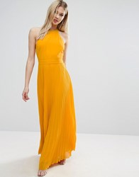 Asos Halter Neck Pleated Maxi Dress With Open Back Yellow