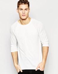 Asos Long Sleeve T Shirt With Sheer Slub Contast Raglan Sleeves In White White