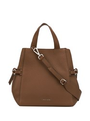 Orciani Logo Top Handle Tote Brown