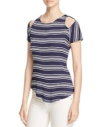 Red Haute Striped Cold Shoulder Top Navy