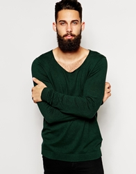 Asos Scoop Neck Jumper In Cotton Green