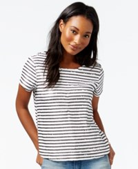 Maison Jules Striped Sequin T Shirt Only At Macy's Egret Combo