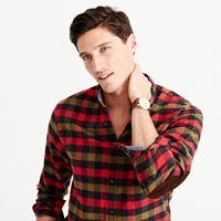 J.Crew Cotton Wool Elbow Patch Shirt In Warm Red Tattersall