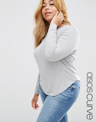Asos Curve Linen Mix Tunic Tshirt With Long Sleeves Grey