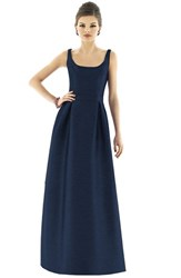 Women's Alfred Sung Scoop Neck Dupioni Full Length Dress Midnight