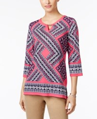 Jm Collection Petite Embellished Printed Keyhole Tunic Only At Macy's Pink Grecian Geo