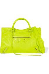 Balenciaga City Classic Neon Leather Shoulder Bag Yellow Lime Green