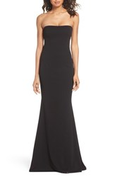 Katie May Strapless Cutout Back Gown Black