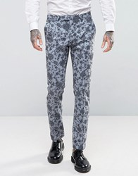 Noose And Monkey Super Skinny Wedding Suit Trousers In Floral Pale Blue