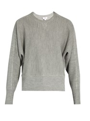 Vince Crew Neck Wool And Silk Blend Sweater Grey