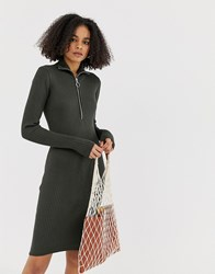 Minimum Ribbed High Neck Dress With Zip Detail Green