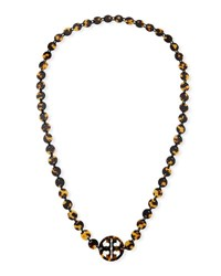 Tory Burch Long Tortoise Logo Necklace Brown