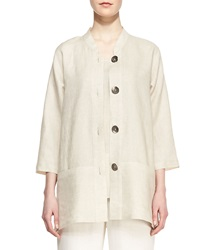 Caroline Rose Tissue Linen Shirt Jacket Natural