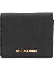 Michael Michael Kors Gold Tone Logo Small Wallet Black