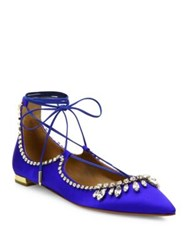 Aquazzura Christy Satin And Crystal Lace Up Flats Royal Blue
