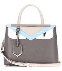 Fendi 2Jours Petite Leather Shoulder Bag Grey