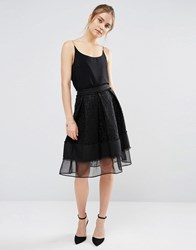 Endless Rose Lace Mesh Panel Midi Skirt Black