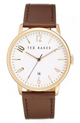 Ted Baker Men's London Leather Strap Watch 42Mm Brown